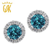 1.49 Ct Round Natural London Blue Topaz 925 Sterling Silver Stud Earrings with Jackets  2016 Fashion Jewelry GemStoneKing(China (Mainland))