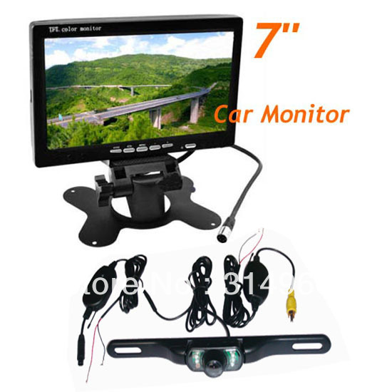 "Waterproof License plate Wireless IR Reverse Camera + 7"" LCD Monitor Car Rear View Kit Free Shipping(China (Mainland))"