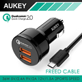 AUKEY Quick Charge 3.0 3 Ports USB Car Charger Mini Usb Car-Charger for iPhone7 LG Xiaomi&More Phone PC Tablet QC2.0 Compatible