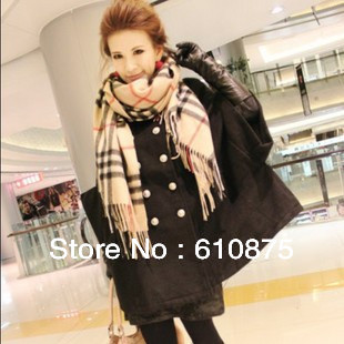 hot sale autumn and winter fashion plaid cashmere wool scarf vintage women's cape lovers design scarf ,R93
