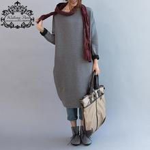 Plus Size New Women's Autumn Dress Casual Cotton T-Shirt Loose Lady Clothing Long Sleeve Striped Print Knitting Big Size Dress(China (Mainland))
