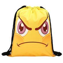Для женщин рюкзак мешок для хранения комплект веревок смешной милый рисунок сумка-мешок для покупок(China)