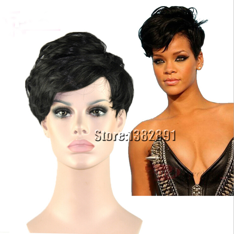 Synthetic Hair Short Wigs For Black Women Fashion Rihanna Style Synthetic Curly Bob Wigs With Bangs Cheap Layered Bob Wigs Sale(China (Mainland))