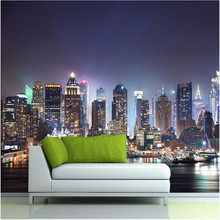 Manhattan 3d papel de paede, New York City large mural wallpaper night background scenery TV sofa bed paper parede(China (Mainland))