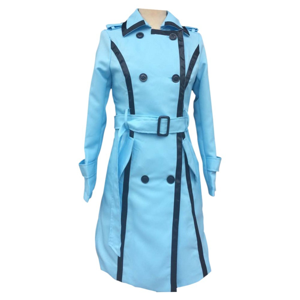 Windbreaker Trench Coat Women 2015 Womens Fall Fashion Autumn Light Blue Elegant Long Clothes Big Size  -  Janecrafts store