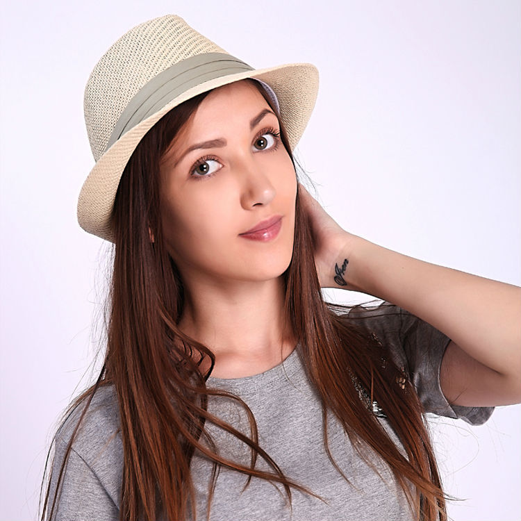 2015 New Fashion Summer Casual Unisex Beach Large Brim Jazz Sun Hat Panama Hat Paper Straw Women Men Cap With Ribbon(China (Mainland))