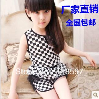 Female big boy summer 2013 children's clothing plaid chiffon gauze child set sleeveless pants
