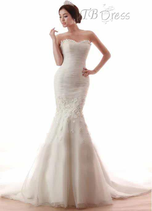 Charming sweetheart bridal gowns ruffle beaded pageant for Trumpet mermaid sweetheart wedding dress