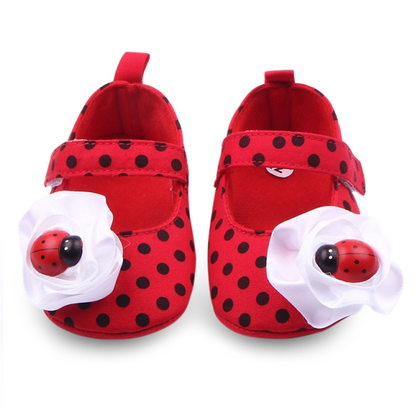 Toddler Girl Infant Polka Dot Walking Shoes Baby Kid Ladybird Non-Slip Shoes New