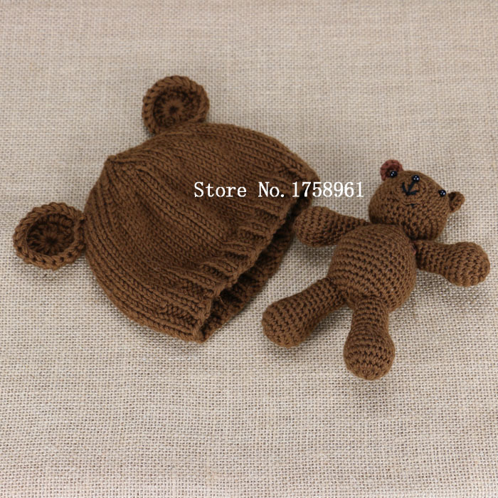 Knitting Pattern Baby Hat Bear : Hand Crochet Knitted Baby Hat Teddy Bear Bonnet Photography/Photo Prop newbor...