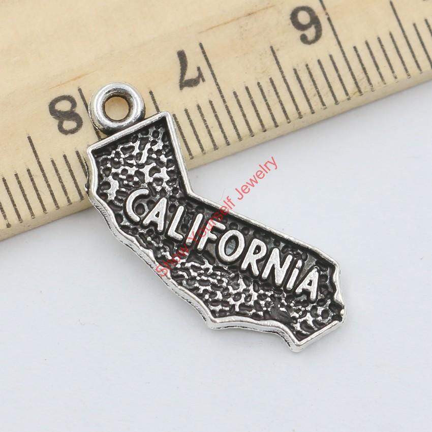15pcs Tibetan Silver Plated California Charms Pendants for Jewelry Making DIY Handmade Craft 25x11mm(China (Mainland))