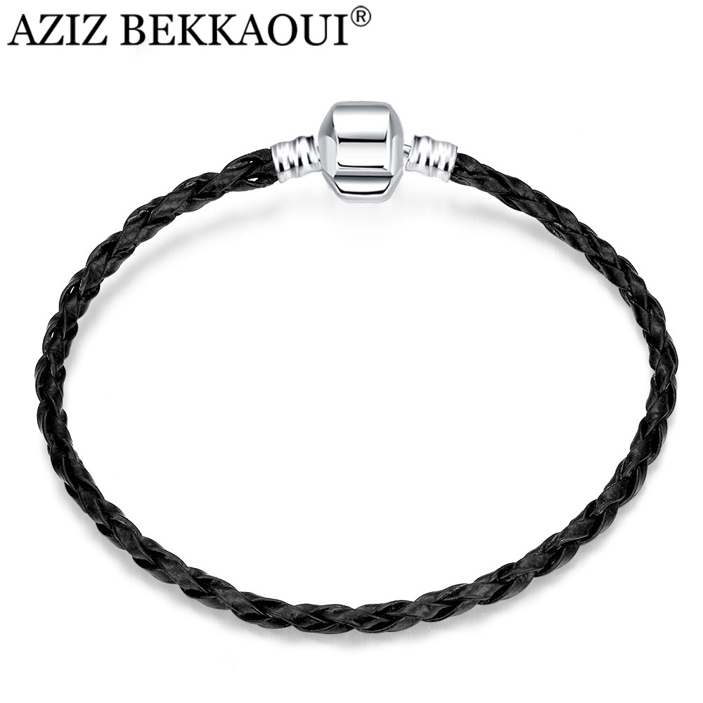 European Style Men Jewelry Black Leather Bracelets & Bangles Snake Chain Plated Silver Bracelet 16-23CM Fit DIY Beads Charms - AZIZ BEKKAOUI Offical Store store