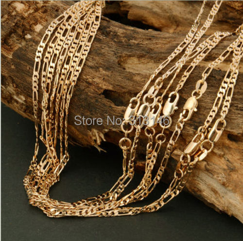 """Bulk Wholesale Lots 5 pcs 2mm 18KGF Stamped Yellow Gold Plated Fashion Women's Italian Figaro Chains Necklace for Pendant 16-30""""(China (Mainland))"""