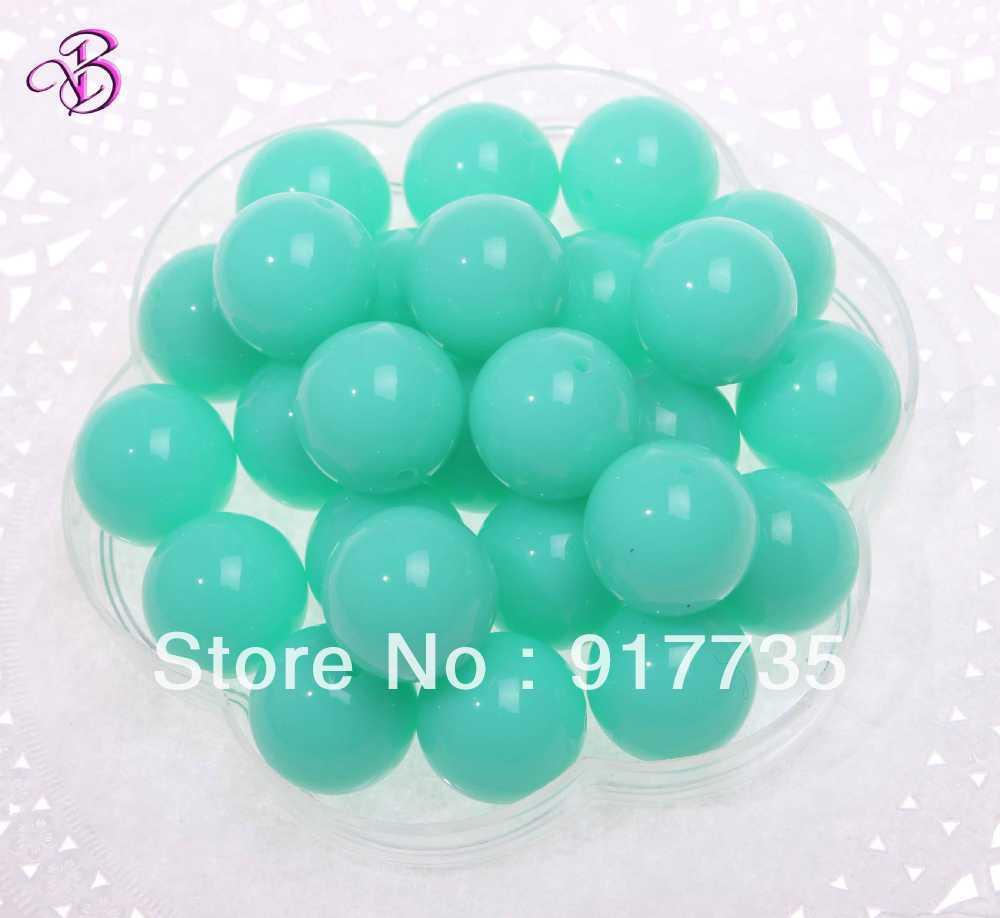 Wholesale Chunky Beads ! 2013 Fashion! 20mm Acrylic Neon/Fluorescence Beads Shiny Mint Green 100pcs Jewelry Beads Free Shipping(China (Mainland))