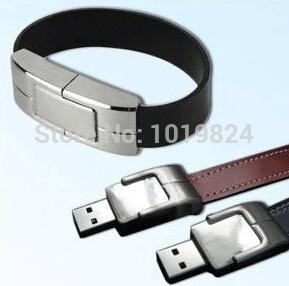 100% real capacity leather Wristband iron usb flash drive/ memory card /pen/car drive 32G usb flash drives Free ShppingS413 *(China (Mainland))