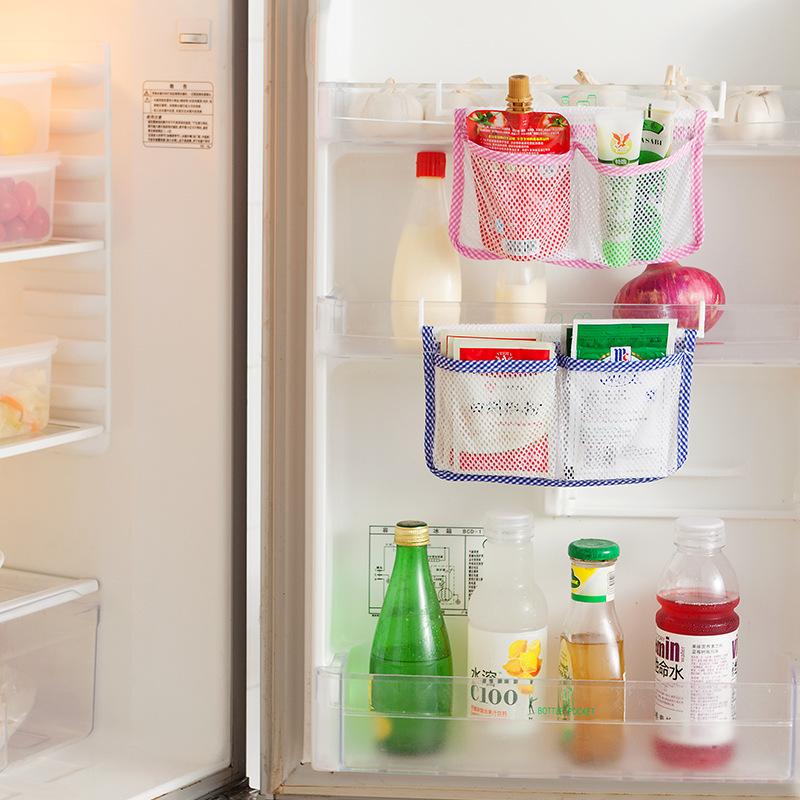 Kitchen Refrigerator Storage Bag Hanging Container Mesh Bags Kitchen Fridge Vegetable Organizer &2151(China (Mainland))