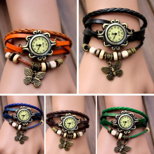 Гаджет  2015 New Fashion Genuine Leather Vintage Watches Leaf Pendant Butterfly Pendant Women Clock Lady Bracelet Jewelry Wristwatches None Часы