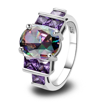 Wholesale Chic Round Cut Amethyst Garnet 925 Silver Ring Size 7 8 9 10 Women Gift