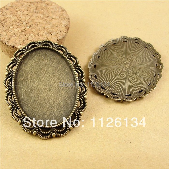 A1932 Antique Bronze Oval Cameo Cabochon Base Setting Pendants, fit 40*30 mm cabochons ; Bezel Blank Pendant Trays(China (Mainland))
