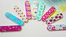 Professional flower print mini nail files buffer finger tips manicure pedicure tools wholesale 100pcs(China (Mainland))