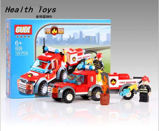 Building Blocks Compatible with lego technic technic Fire Station Truck Learning School Education Toys Christmas Gift Children(China (Mainland))