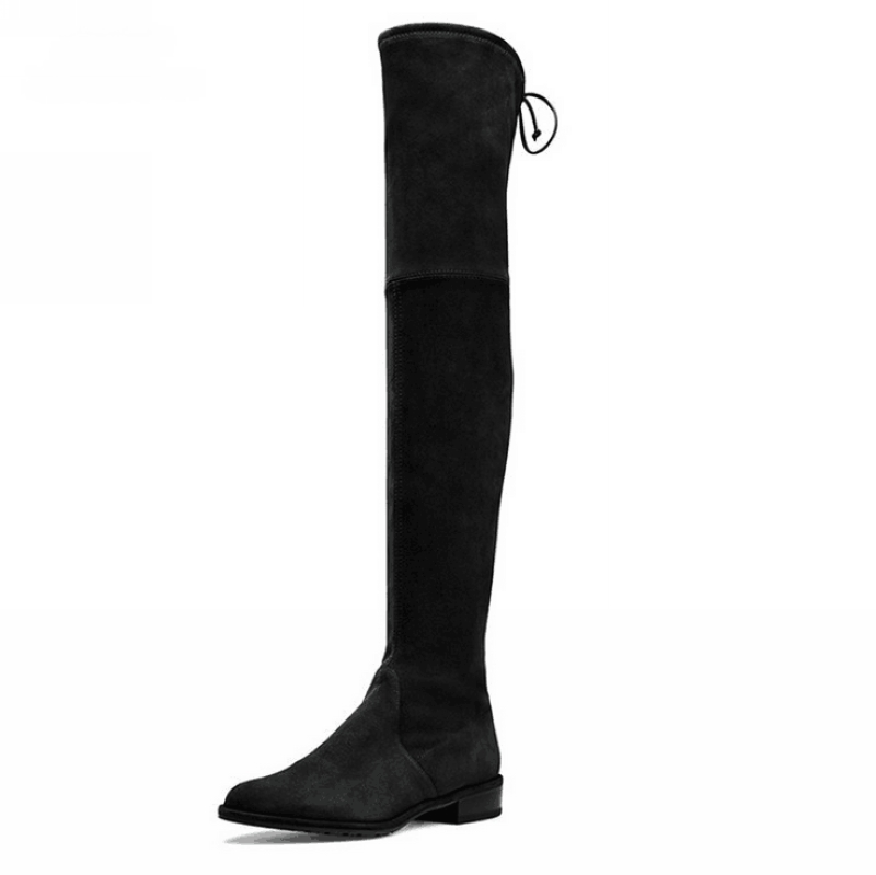 Women Over The Knee Boots Suede Thigh High Boots 2016 Autumn Winter Ladies Fashion Fur Warm Chunky Heel Boots Snow Shoes Woman(China (Mainland))