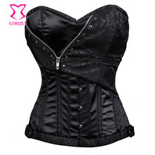 Zipper Black Overbust Corset Steel Boned Waist Training Corsets Plus Size Gothic Steampunk Clothing Women Sexy Burlesque Costume