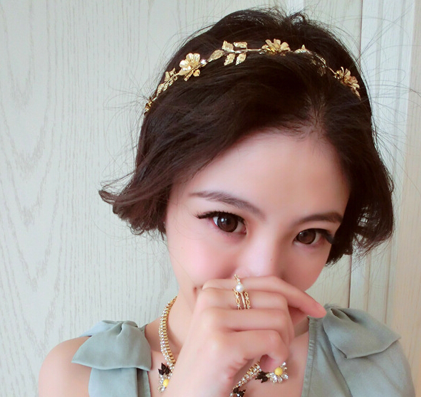 korea gold plated alloy flower leaf rhinestone hair band Stretchable hair accessories bride jewelry for the hair(China (Mainland))