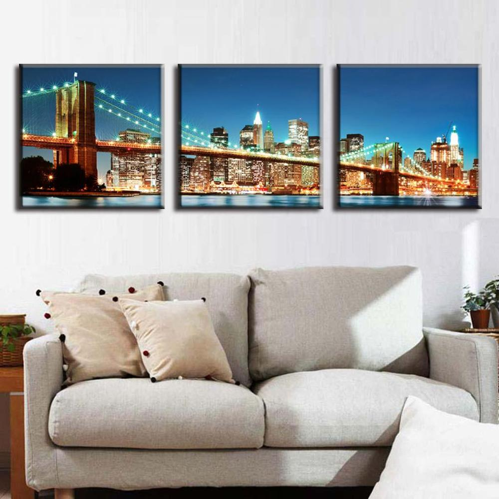 3 Pcs/Set The Brooklyn Bridge Of New York City Landscape Wall Paintings Blue Sunset Nightscape Canvas Prints Canvas Oil Painting(China (Mainland))