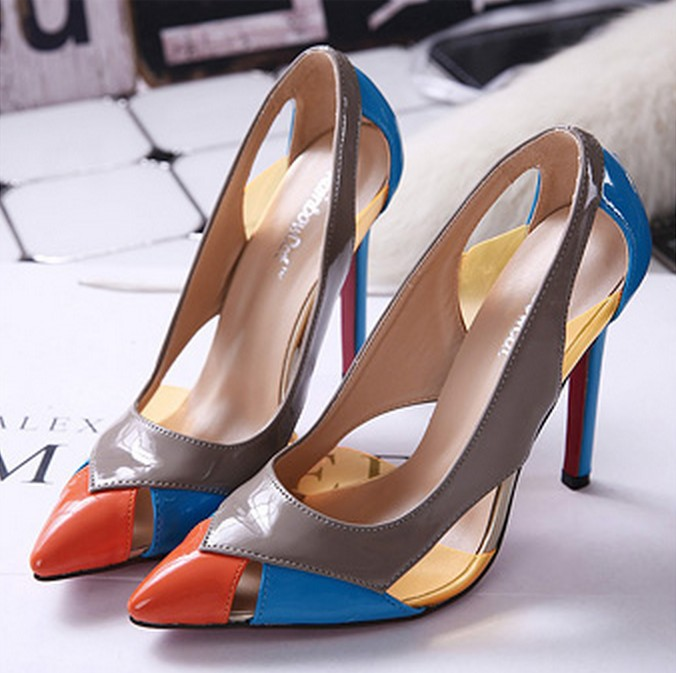 2015 fashion designer pumps Europe and foreign trade red bottom high heel women shoes pointed hollow spell to a light <br><br>Aliexpress