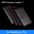 2015 New Luxury Crocodile Grain Genuine Leather Phone Case for Blackberry Priv 100 Real Leather Protective