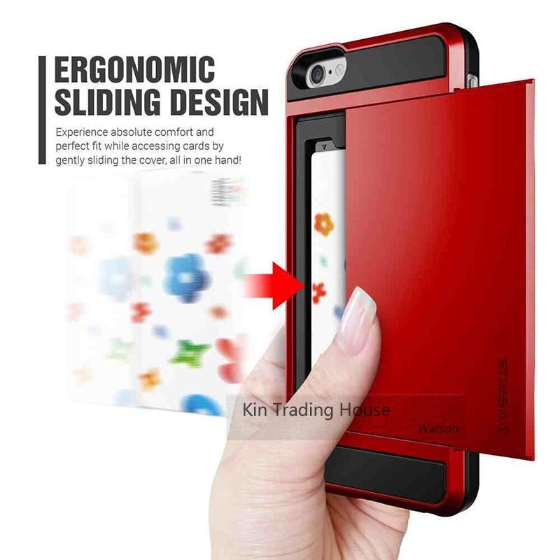 Card Pocket ShockProof Slim Hybrid Wallet Case Cover for iPhone Slide Armor ID Card Holder Pocket Wallet Phone Case for iPhone 6(China (Mainland))
