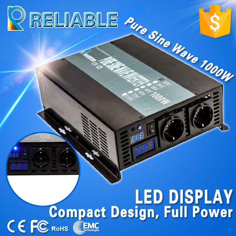 High frequency 1000W 12/24/48V to 120/220V dc to ac converter solar system off grid inverter True Pure Sine Wave Power Inverter(China (Mainland))