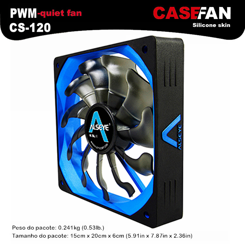 ALSEYE CS-120 New arrival PWM blue computer cpu cooler fan cooling radiator 500-2000RPM 4pin 12v silicone 120mm fan for computer(China (Mainland))