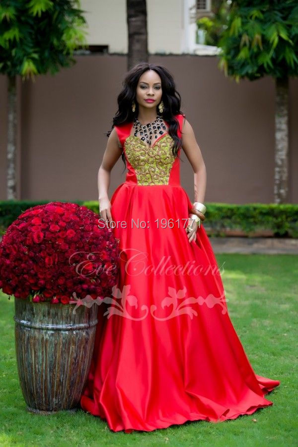 Princess Puffy Red Prom Dresses Party Gowns Elegant Cap Sleeve African Prom Gown Ankara