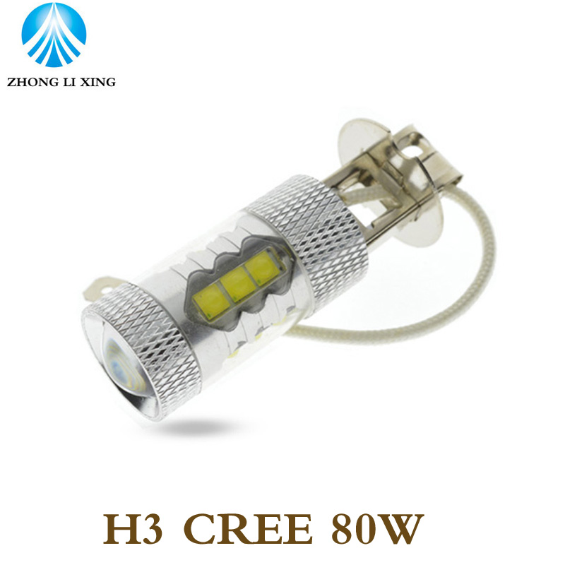 2pcs Car Auto LED H3 80W CREE White Fog Tail Turn DRL Head Car Light Lamp Bulb Super Bright(China (Mainland))