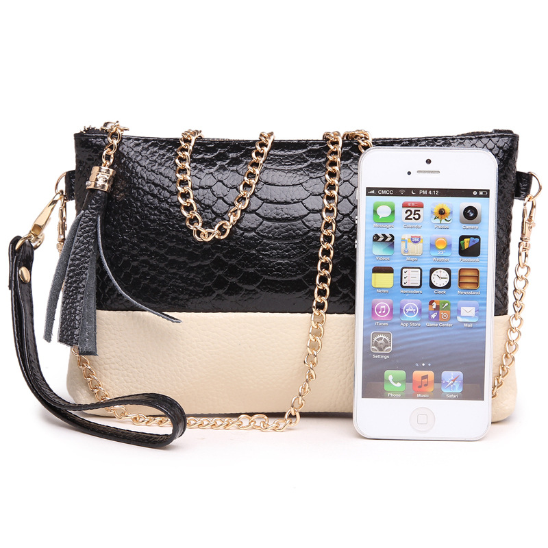 2015 genuine leather tassel handbags messenger bag with shoulder day clutch chain small bag womens clutches L12(China (Mainland))