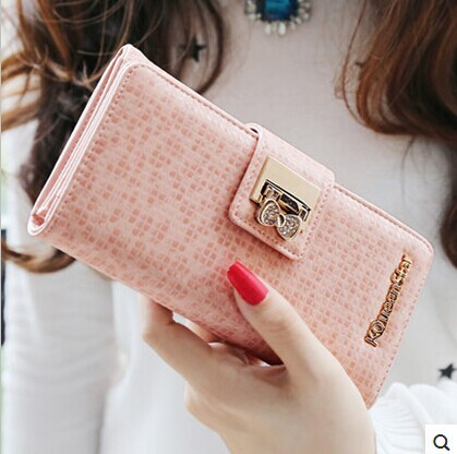 2015 new fashion women wallets genuine leather long female wallet high quality new design lady purse free shopping(China (Mainland))