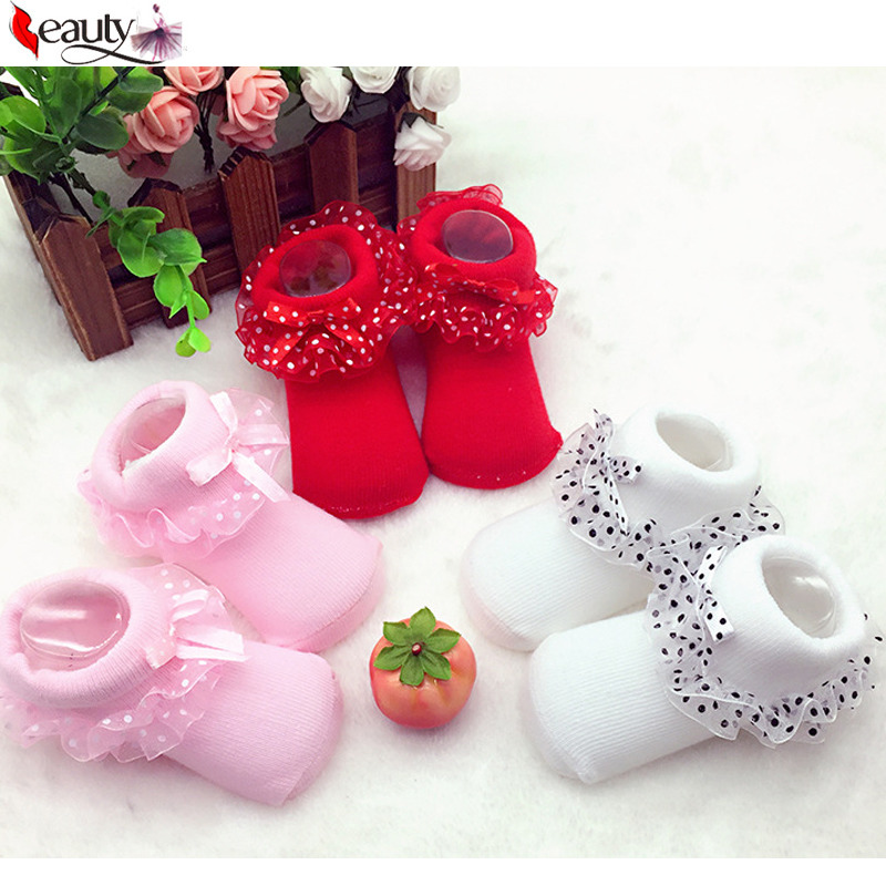 Lovely High Quality 0-6 Months Toddlers Infants Cotton Ankle Socks Baby Girls Princess Bowknots Socks Shoes(China (Mainland))