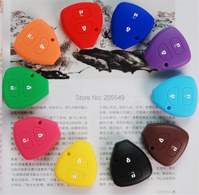 Silicone Key Case key bag key holder For Toyota Yaris Tarago RAV4 Prado Corolla Camry 2 Butto 1pc per set(China (Mainland))