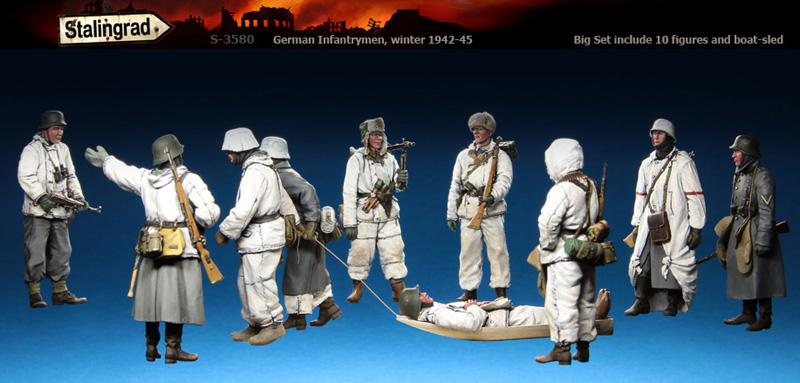 Stalingrad S-3580 German Infantrymen winter 1942-45 Big Set include 10 figures and boat-sled Resin Model Kit Free Shipping<br><br>Aliexpress