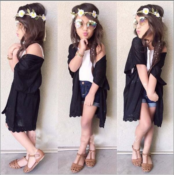 Latest 3 pieces black clothing set for t shirt and denim shorts kids outfit wholesale sexy boutique baby clothes (ulik-A029)(China (Mainland))