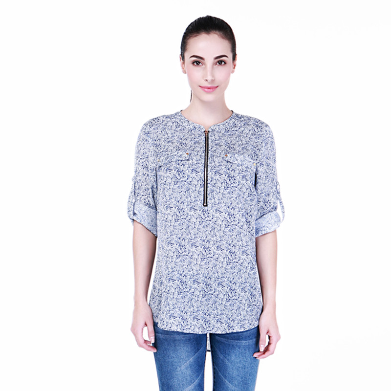 Buy 2016 summer casual chiffon shirts v for Blue and white long sleeve shirt