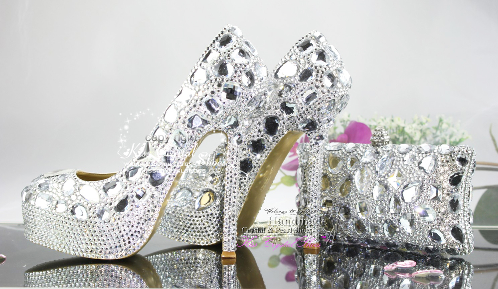 Aliexpress.com  Buy New Fashion Handmade Cinderella Silver Wedding Shoes Silver Platform Shoes ...