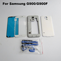 White Complete Full Housing for Samsung Galaxy S5 G900f middle frame battery door cover Front Glass