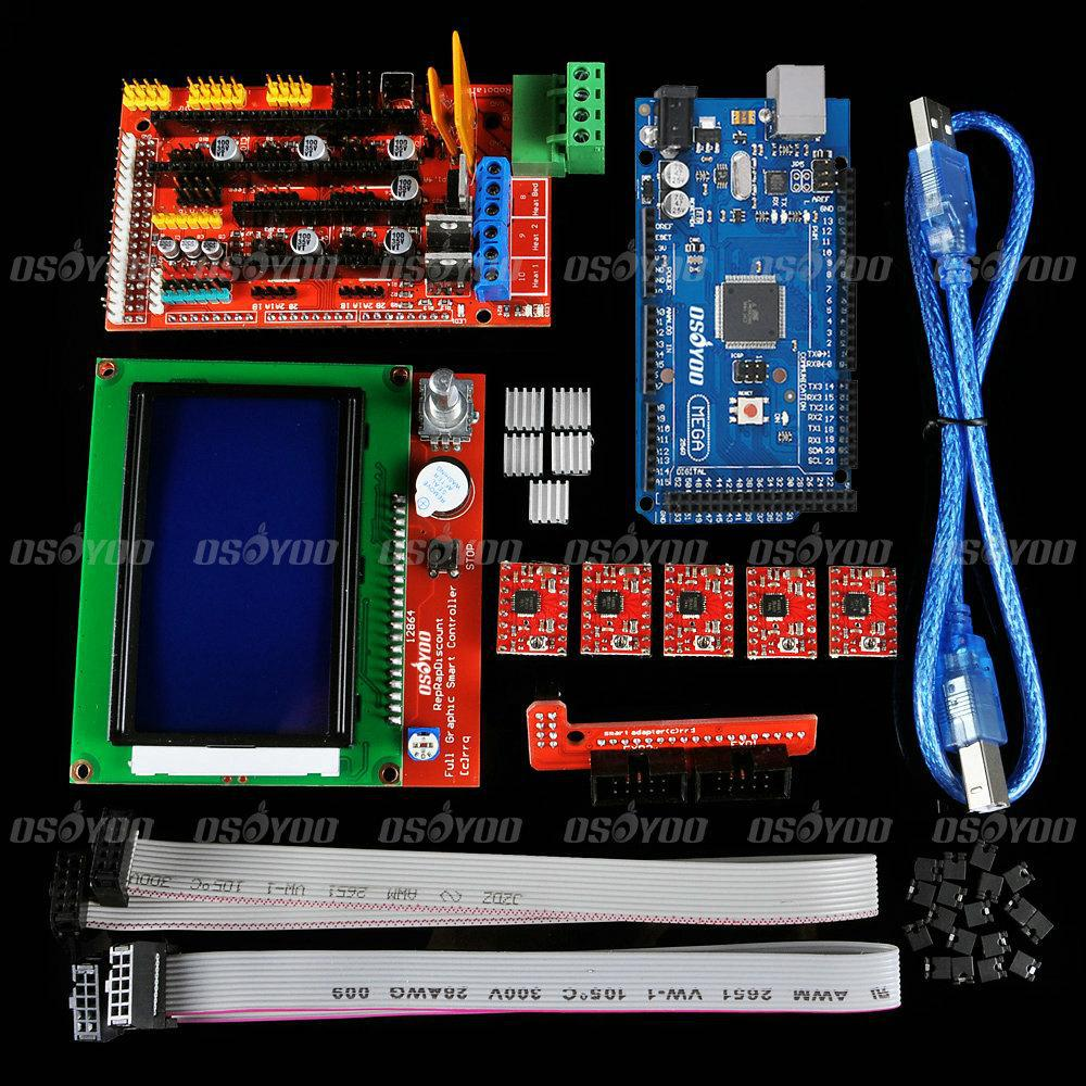 3D Printer Kit Mega 2560 R3 + 1pcs RAMPS 1.4 Controller + 5pcs A4988 Stepper Driver Module +LCD12864 Controller for RepRap(China (Mainland))