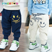 Cotton Kids Boys Pants Smiling Boys Harem Pants Boys Clothes Sports Casual Boys Trousers(China (Mainland))