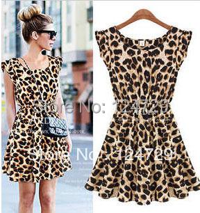 New 2015 women one piece dress chiffon leopard print Casual Sundress Free shipping(China (Mainland))