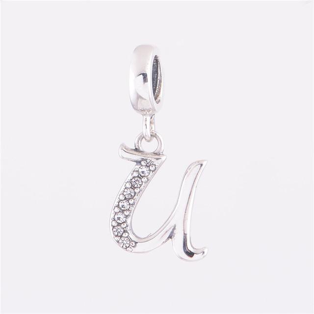 Новый стерлингового серебра 925 бусины U лаки письмо шарм подвеска DIY ювелирных изделий подходит для Chamilia европейский стиль змея цепи браслет