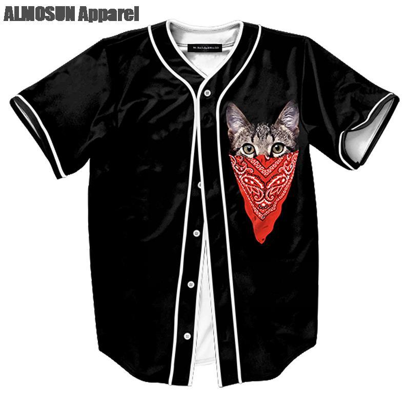 ALMOSUN Gangsta Cat Jersey All Over Print Baseball T-Shirt Sports Short Sleeve Street Hipster Hip Hop Summer Tops Unisex(China (Mainland))